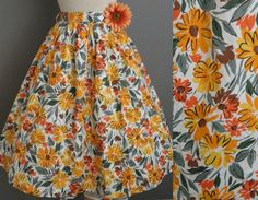 Vintage 50s 60s Golden Daisy Chain Garden Party Swing Fit n Flare Skirt by GGMMVintage, etsy