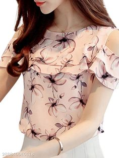 Cheap blusa women, Buy Quality chiffon shirt directly from China short sleeve blouse Suppliers: 2018 Women Off Shoulder Short Sleeve Blouses Print Floral Chiffon Shirts Casual Ladies Clothing Female Blusas Women Tops 30 Floral Tops, Floral Shirts, Shoulder Shirts, Shoulder Tops, Cold Shoulder, Summer Blouses, Summer Tops, Pink Blouses, Spring Summer