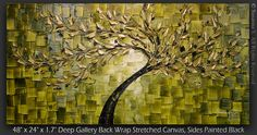 ORIGINAL Large Abstract Gold Olive Green Tree by ModernHouseArt, $375.00