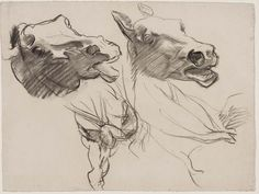 Year of the Horse. John Singer Sargent, Sketch for Gog and Magog - Horses' Heads - Boston Public Library Murals, John Singer Sargent, Horse Drawings, Animal Drawings, Art Drawings, Figure Drawings, Drawing Art, Trois Crayons, Boston Public Library, Public Libraries