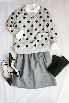 dot-sweater-gray-skirt