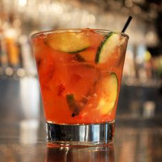 Juniper fusion #yardhouse   1/2oz. gin 1 oz. homemade citrus agave blend Dash of orange bitters Muddled cucumbers and strawberries