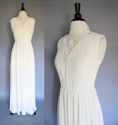 vintage 60s Ivory Lace Maxi Dress Wedding Gown by SundayInSavannah