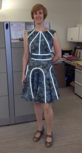 My Cynthia Rowley dress with reflective piping. A bit Tron-like but I really love it! It was really complicated so I doubt I'll ever make another.