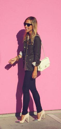 J. Crew Military Jacket + Zara Blouse + Zara Heels + Chanel Bag + J Brand Jeans + Gorjana Jewerly + Kelly Wearstler Ring