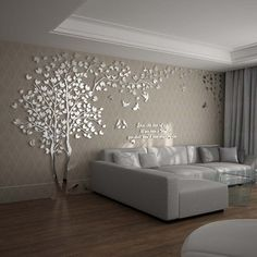 The wall decals for living room is composed of good quality acrylic material, it has tree pattern that decorates house modern and chic look. S: M: L: XXL: on wall living room Wall Decals For Living Room Tree Acrylic Home Personalised Mirror Living Room Wall Designs, Home Room Design, Home Interior Design, Living Room Decor, Living Walls, Dinning Room Wall Decor, Home Living Room, Tree Wallpaper Living Room, 3d Wallpaper For Bedroom