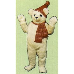 227A-Z Snow Bear w/ Hat & Scarf - Team-Mascots.  See more bear mascot costumes at:  http://www.team-mascots.com/bear-mascot-costumes/bear227a