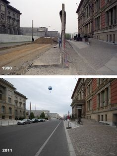 Then & Now: Niederkirchnerstrasse behind Martin Gropius Bau in 1990 and Before 1945 it was known as Prince-Albrecht-Strasse Germany Area, East Germany, Berlin Germany, Great Photos, Old Photos, Gropius Bau, Then And Now Pictures, German Wall, Man Of War