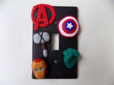 Avengers assemble!! Get your own team of Avengers! Perfect for superhero fans of any age!! The artist can make this design on any shape or size of light switch cover.