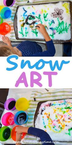 Snow Art – HAPPY TODDLER PLAYTIME - Paint a snow canvas with coloured water! A great fine motor skill activity. #startadaycare