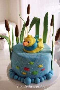 Torte mit Entchen auf dem Teich...für eine kleine Babyparty... Cake with a little duck...