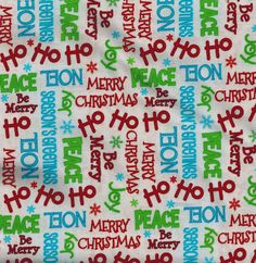 Christmas Words - Ho Ho Merry Christmas Fabric - by A E Nathan CO, By the Yard by LaCreekBlue on Etsy