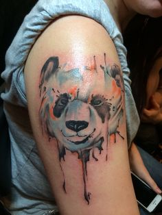 Watercolor panda tattoo - Nephtali Brugueras jr.