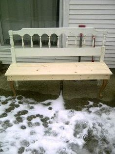 Don't throw out your headboards. Turn them into a bench. Paint it any color you need.