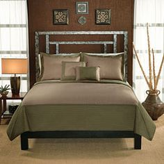 Barclay Sage Green and Tan Hotel Quilt Set