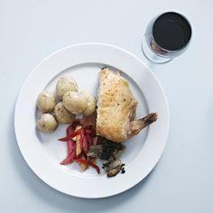Rabarber, ovnbagte kartofler og kylling
