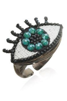 Ekaterini Evil Eye Ring embelished with Swarovski crystals Swarovski Ring, Swarovski Crystals, Evil Eye Ring, Jewelry Shop, Pop Art, Rings, Jewlery, Jewellery, Ring