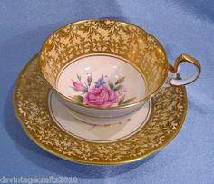 Aynsley Tea Cup & Saucer Gold Filigree on Cream Pink Rose Scallop