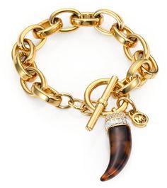 Michael Kors Gold Tortoiseprint Horn Charm Bracelet