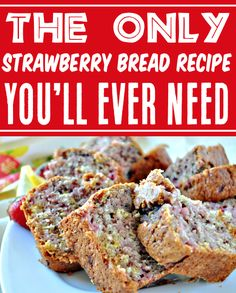 Strawberry Desserts - Easy Recipes for Summer! This outrageously delicious strawberry lemon bread is the perfect way to start your day with a cup of coffee, or end your day as a treat after dinner! You better make extra loaves, because it will disappear FAST! Go grab the recipe and give it a try this week! Strawberry Bread Recipes, Easy Strawberry Desserts, Easter Desserts, Fun Desserts, Dessert Recipes, Easy Summer Meals, Summer Recipes, Easy Meals, Fun Baking Recipes