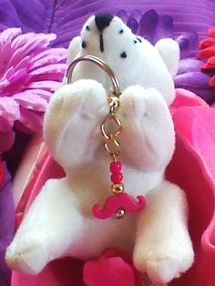 Moustache bead charm and two chain links
