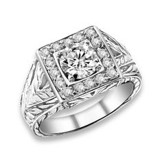 1.40 ctw 14k WG Natural G-H Color, I1 Clarity, Accent Diamonds Engagement Ring