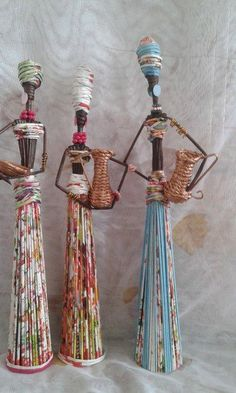 Discover thousands of images about Paper mache women Newspaper Basket, Newspaper Crafts, Art N Craft, Diy Art, Magazine Crafts, Magazine Art, Diy And Crafts, Arts And Crafts, African Dolls