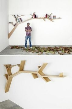 Tree house library. Mini branches built onto the wall instead of conventional shelves