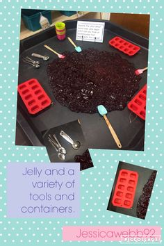 Exploring jelly with a variety of tools and containers. Eyfs Activities, Nursery Activities, Kindergarten Activities, Classroom Activities, Tuff Spot, Sensory Bins, Sensory Play, Summer Activities For Kids, Crafts For Kids