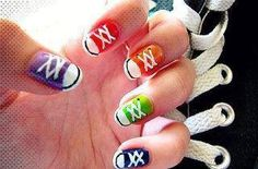 """Totes to cutepolish on YouTube, where I first saw this adorable idea.  To find a video tutorial, search """"cutepolish converse"""" on YouTube.  ENJOY!"""