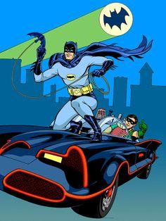 "BATMAN 1966 signed print 12""x16"" Adam West, Burt Ward, and Batmobile"