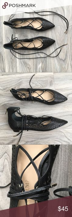 Ivanka trump Wraparound flats 6.5 nwt Ivanka trump black Wraparound 6.5 nwt   Removed tags on the bottom so has sticky residue. Leather strings may have wear from tying and trying them on. Ivanka Trump Shoes Flats & Loafers