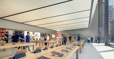 Apple New SF Store welcomes more glass and steel design. The terrazzo floors help cut down electricity costs as well and manages temperature regulations #apple #design #retail #tech #architecture www.doyledickersonterrrazzo.com