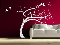Birds dancing with flower blooming tree large wall decal