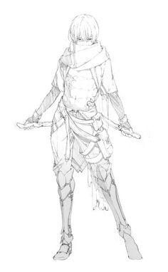 Warrior girl female fighter explorer illustration reference