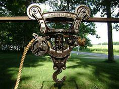 Antique Cast Iron Louden Junior Hay Trolley Unloader Carrier Pulley | eBay