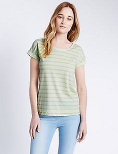 Pure Cotton Slouch Striped T-Shirt | M&S