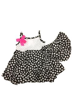 Rare Editions Girls Flower Print 2-Piece Set in Black (12M). Two-set floral print dress. Pink ribbon on top right. Spaghetti straps. Imported.
