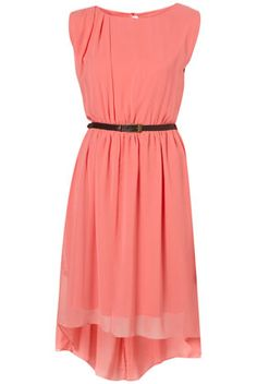Needs another belt, but another high-low hem, coral dress