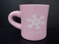 Life Is Good Collectible Coffee Mug Cup Diner Pink Snowflake Do What You Like   | eBay