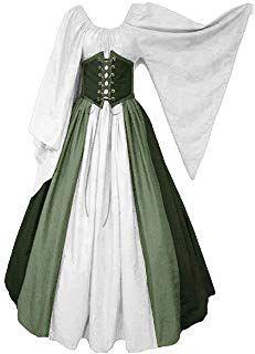prettycos Women Medieval Costume Renaissance Fancy Dress White Wrapped High Waist Dress with Flare Sleeve Cotton Drawstring Dress Renaissance Fair Costume, Renaissance Dresses, Medieval Costume, Medieval Dress, Medieval Clothing, Medieval Gothic, Medieval Wedding, Gothic Wedding, Vintage Style Outfits