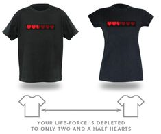 An interactive t-shirt with a life bar of hearts. When you and your special someone are apart, the hearts are partially lit. When you are together, the full bar is illuminated. Isn't geek love sweet?