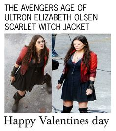 """""""THE AVENGERS AGE OF ULTRON ELIZABETH OLSEN SCARLET WITCH JACKET"""" by newamericanjackets ❤ liked on Polyvore featuring Quiksilver and Olsen"""