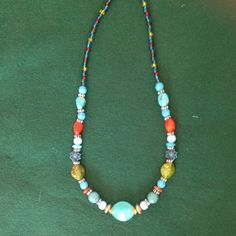 """B2G1 FREE....Lovely Beaded Necklace Plastic Multi color beads of various shapes and sizes will accent almost anything. 10"""" Jewelry Necklaces"""