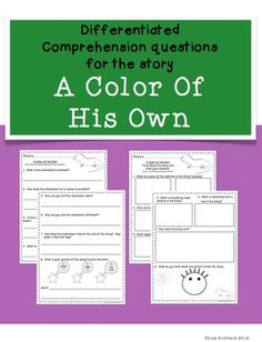 Differentiated Comprehension Questions for A Color of His Own $