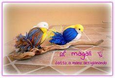 uccellini ciuffolotti in lana - sinide magali