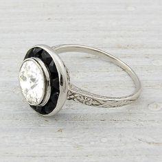 1.11 Carat Old European Cut Diamond Art Deco Engagement Ring Circa 1925