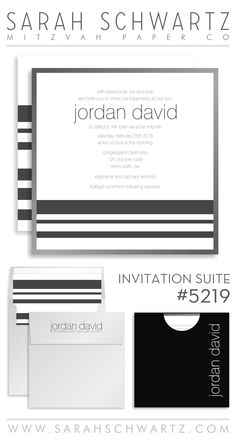 A modern gray Bar Mitzvah invitation suite with stripes
