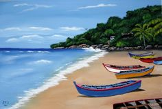 Aguadilla Puerto Rico Crashboat Beach - acrylic paint on canvas by Luis R. Rodriguez...2 of my children were born here in Puerto Rico