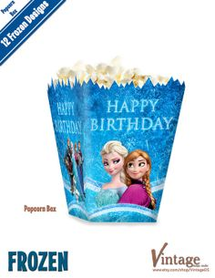 Disney Frozen Birthday Party Popcorn Box Images digital file DIY Olaf Sven Anna Elsa Hans Kristoff on Etsy, $4.99